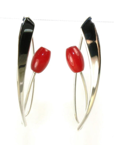 Coral Tulip Earrings by Ed Levin