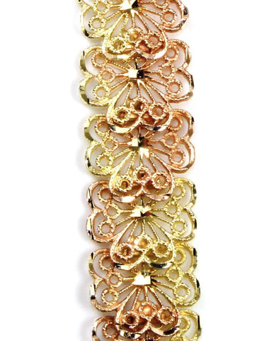Wide Open Scroll Rose and Yellow Gold Bracelet
