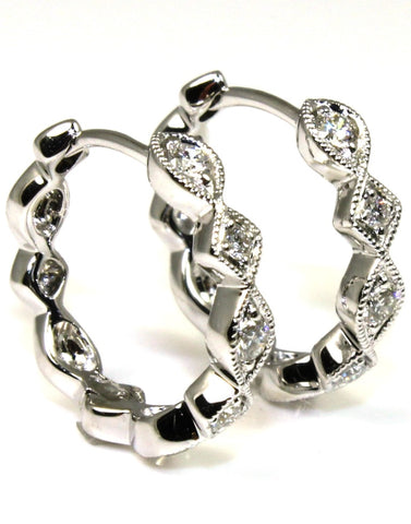 Diamond Filigree Huggie Hoop Earrings by Allison Kaufman