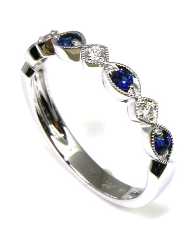 Blue Sapphire and Diamond Milgrain Ring by Allison-Kaufman
