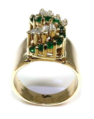 "Emerald and Diamond ""S"" Ring"