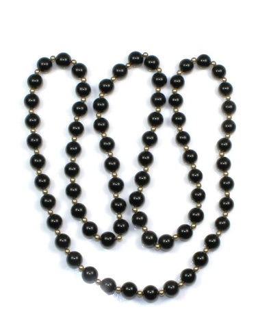 "Onyx and Gold Bead 30"" Necklace"
