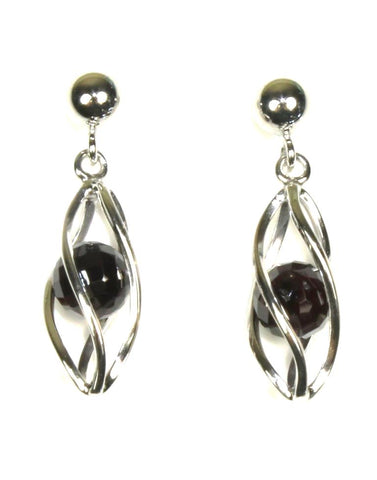 Caged Garnet Earring by Carla & Nancy B