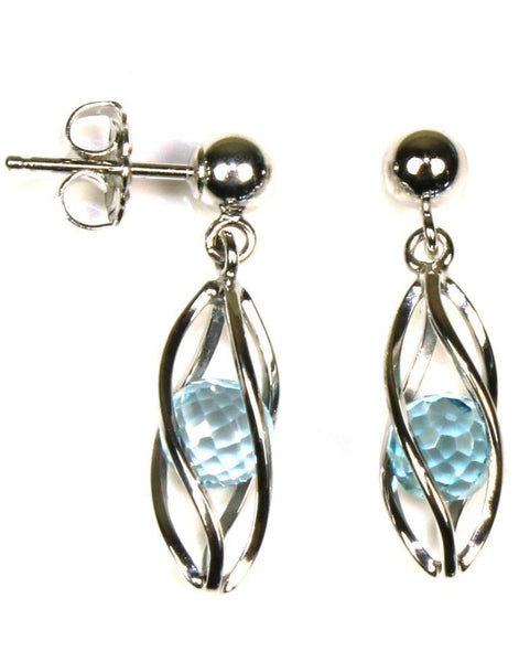 Caged Blue Topaz Earring by Carla & Nancy B