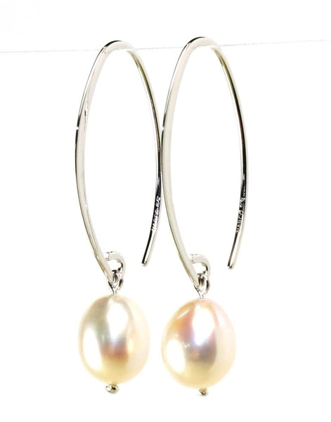 Simple Sweep White Pearl Earrings by Carla & Nancy B