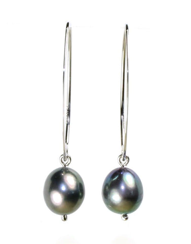 Simple Sweep Black Pearl Earrings by Carla & Nancy B