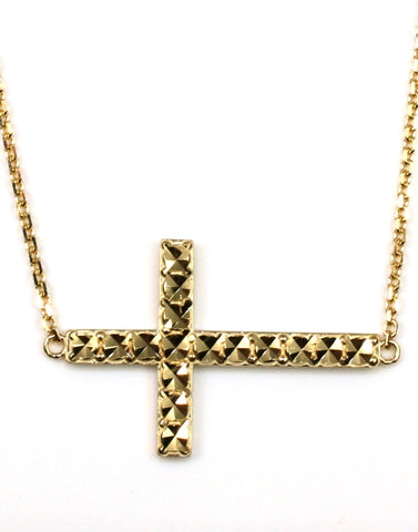 Diamond Cut Sideways Cross Necklace
