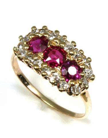 Old Miners Cut Ruby and Diamond Vintage Halo Ring