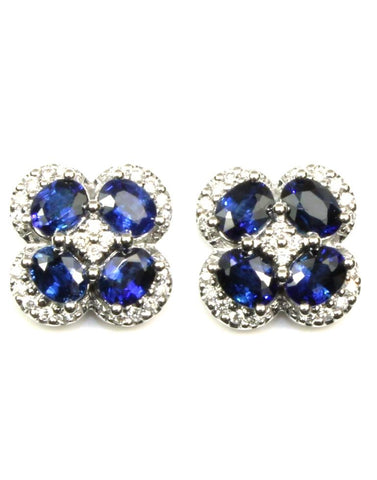 Blue Sapphire and Diamond Clover Earrings by Allison Kaufman