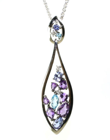 Tanzanite, Amethyst, and Topaz Drop Necklace by Allison Kaufman