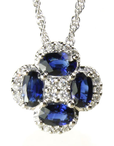 Blue Sapphire and Diamond Clover Necklace by Allison Kaufman