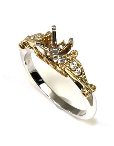 Two Tone Intricate Diamond Ring Setting by Allison Kaufman