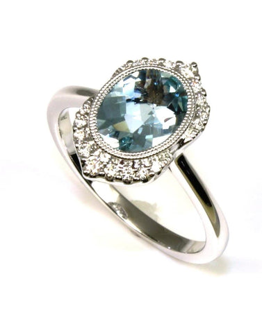 Aquamarine and Diamond Ring by Allison Kaufman