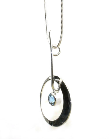 Elliptical Elegance Blue Topaz Necklace by Ed Levin