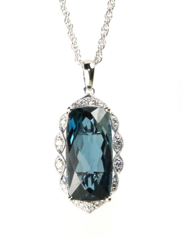 London Blue Topaz and Diamond Necklace by Allison Kaufman