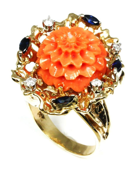 Coral, Blue Sapphire, and Diamond Ring