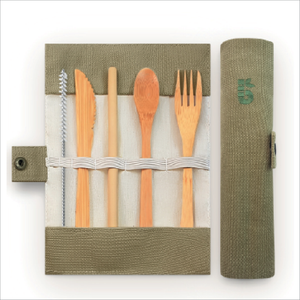 Camping Cooking Gear, a sustainable & stylish bamboo cutlery set.....an intrepid essential.