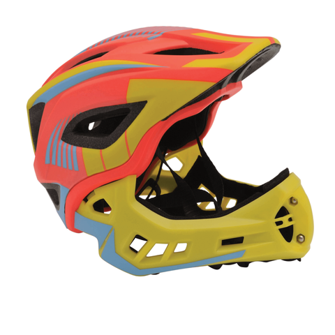 Mountain Bike Helmets - Brilliant, light weight Kiddimoto Ikon with detachable chin guard.