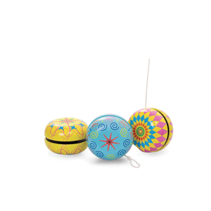 Yoyo Tricks - Colourful tin yoyo with vibrant pattern design on both sides.