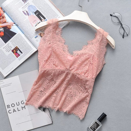 Lace Bralette With Removable Padded Camisole Bra (1132)
