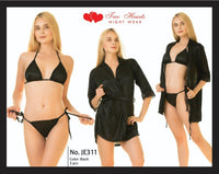 3 Piece Silk Nightwear & Lingerie with Short Gown - Black (N1234)