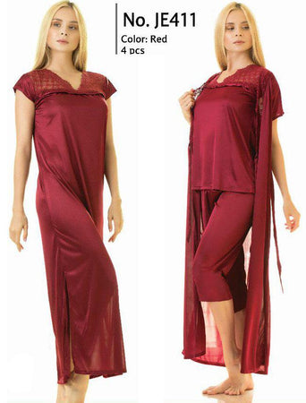 4 Piece Stylish Lace Maroon Nightdress (780) - The Women Wears