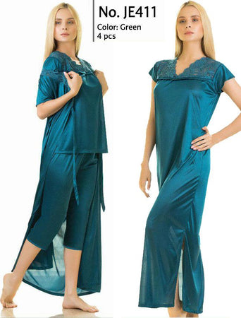 4 Piece Stylish Lace Green Nightdress (781) - The Women Wears