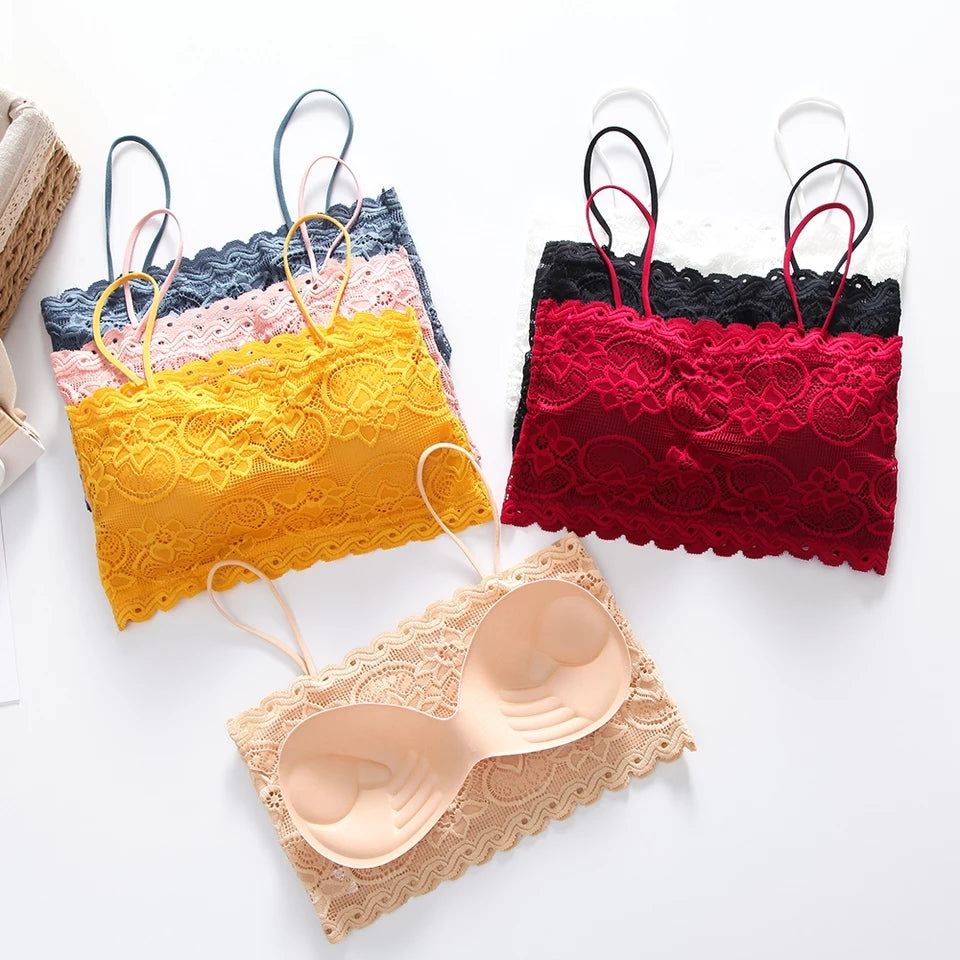Pack of 3 Elegant Lace Bralette With Soft Removable Pads -  BL1347 - The Women Wears