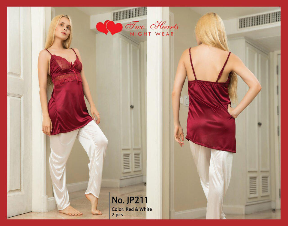 Ladies Sexy Two Piece Night Dress V-neck with Trouser - Maroon (1173)