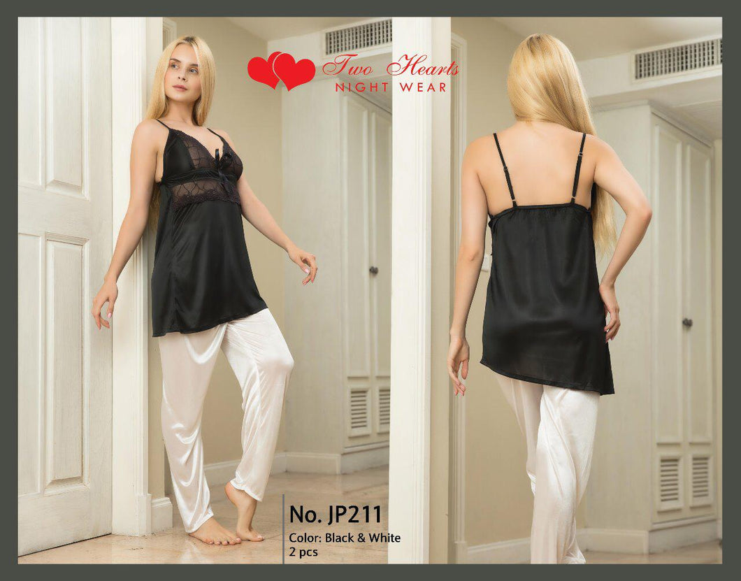 Ladies Sexy Two Piece Night Dress V-neck with Trouser - Black