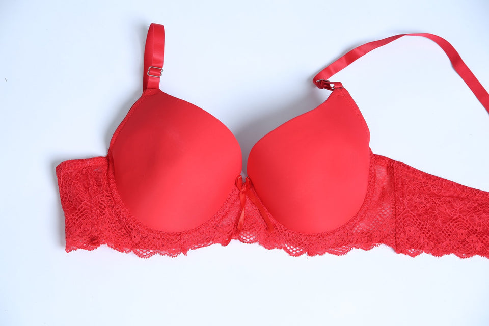 COMFORTABLE PUSH-UP PADDED BRA - RED (668) - The Women Wears