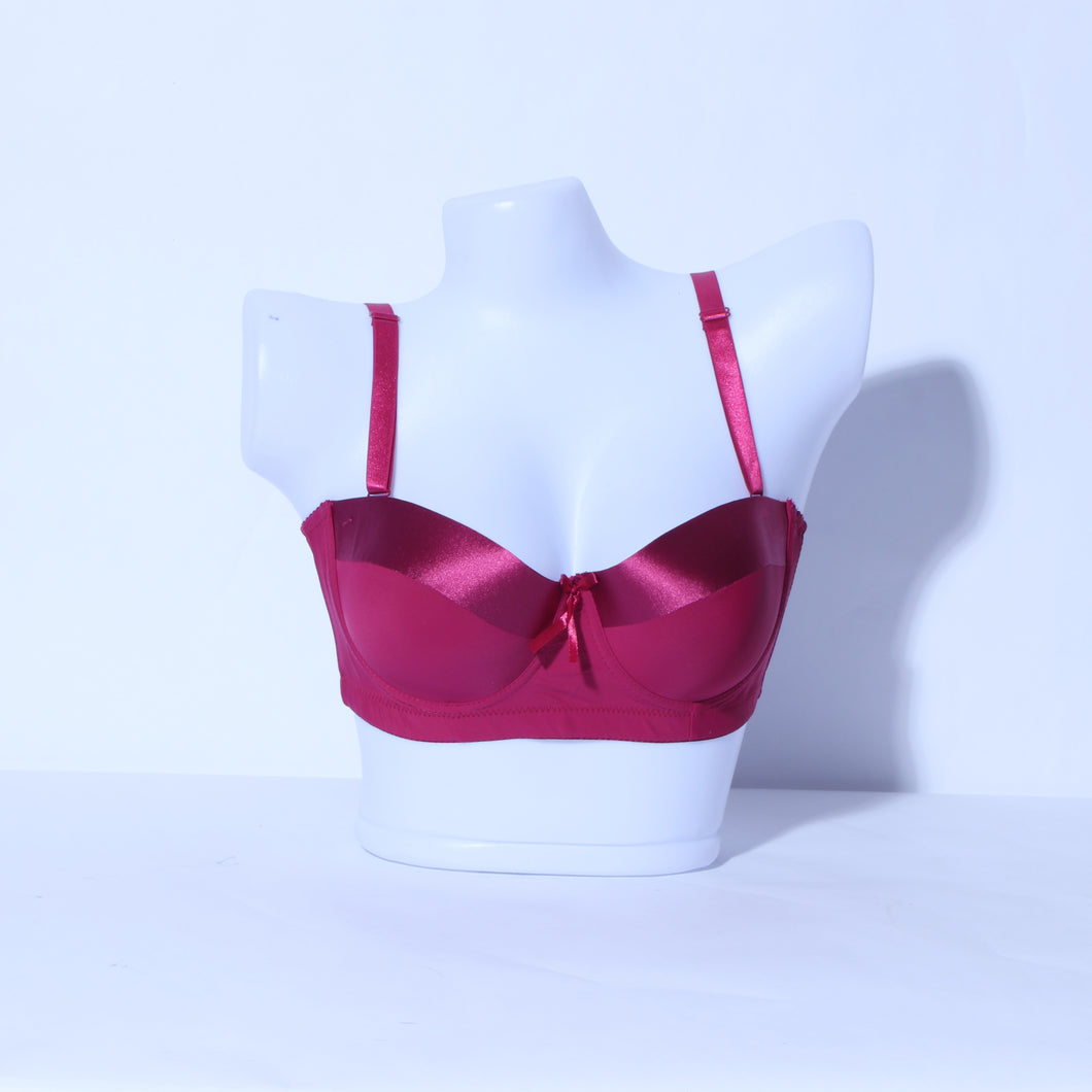 Demi Cup Light Padded Underwire Bra - Maroon (PD-025)