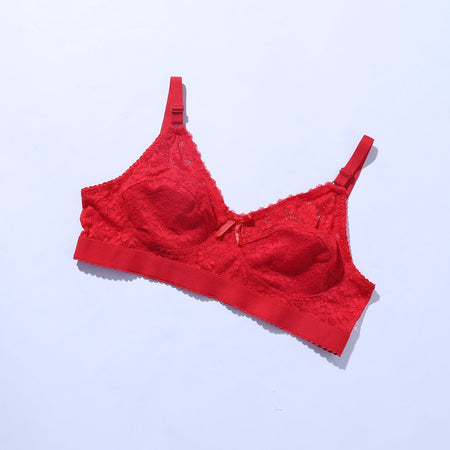 Galaxy Lace Comfortable Bra - Red - The Women Wears