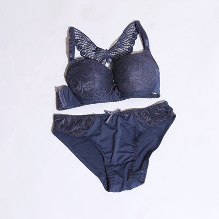 COMFORTABLE PUSH-UP PADDED BRA SET - CHARCOAL  ( 1031 ) - The Women Wears