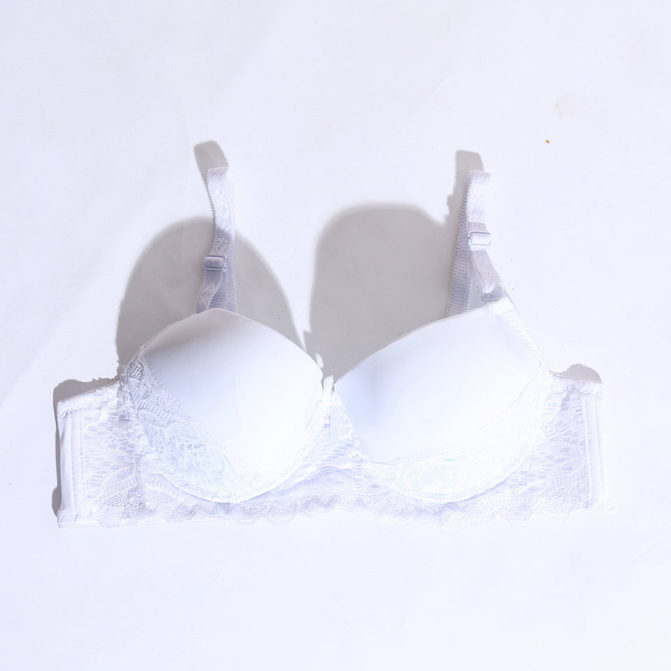 Padded Non-Wired Bra With Lace - White ( 1063 ) - The Women Wears