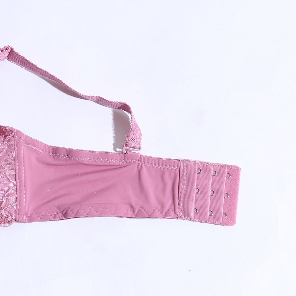 Padded Non-Wired Bra With Lace - Tea Pink ( 1062 ) - The Women Wears