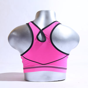 Power Shape V-Mesh Wire Free Sports Bra - Shocking Pink ( 1080 ) - The Women Wears