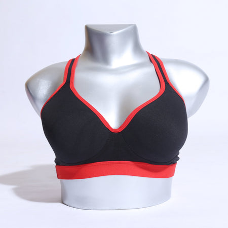Active Yoga Workout Strings Bra - Red Black ( 1101 ) - The Women Wears