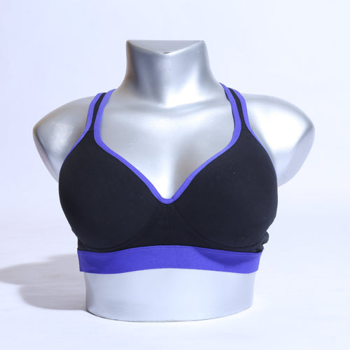 Active Yoga Workout Strings Bra - Blue Black ( 1103 ) - The Women Wears