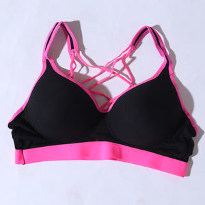 Active Yoga Workout Strings Bra - Pink Black ( 1098 ) - The Women Wears