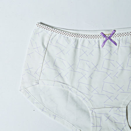 Breathable Cotton Underwear - Printed White (762) - The Women Wears