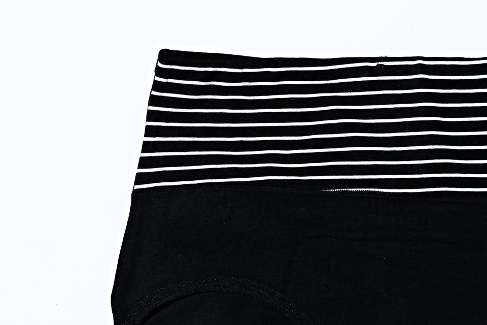 Mid Waist Cotton Contrast Black Underwear (574) - The Women Wears