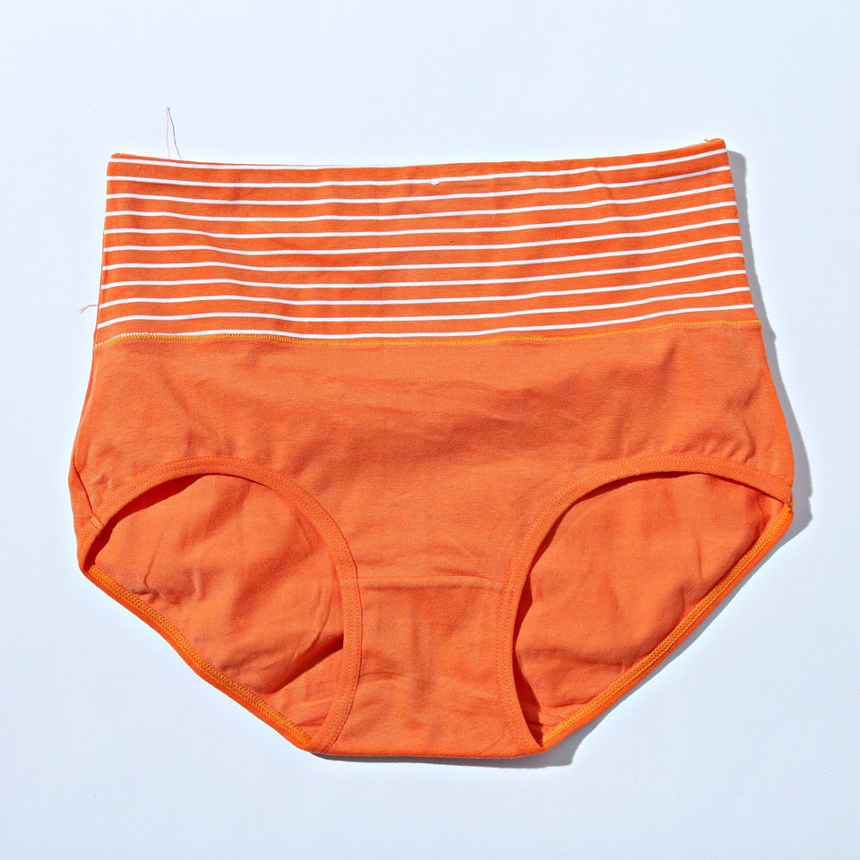 Mid Waist Cotton Contrast Orange Underwear (572) - The Women Wears
