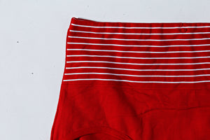 Mid Waist Cotton Contrast Red Underwear (570) - The Women Wears
