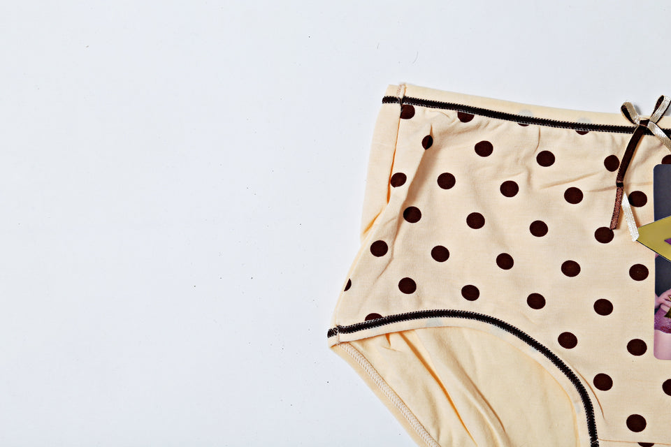 Low Waist Cotton Underwear - Polka Dot Beige (586) - The Women Wears