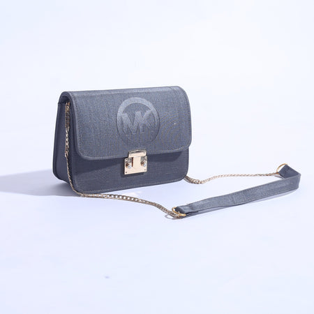 MK Embossed Women Messenger Bag Metal Lock ( B-002 ) - The Women Wears