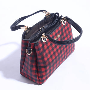 Check Printed Hand Bag With Leather Strap ( B - 023 ) - The Women Wears