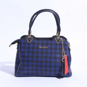 Check Printed Hand Bag With Leather Strap ( B - 021 ) - The Women Wears