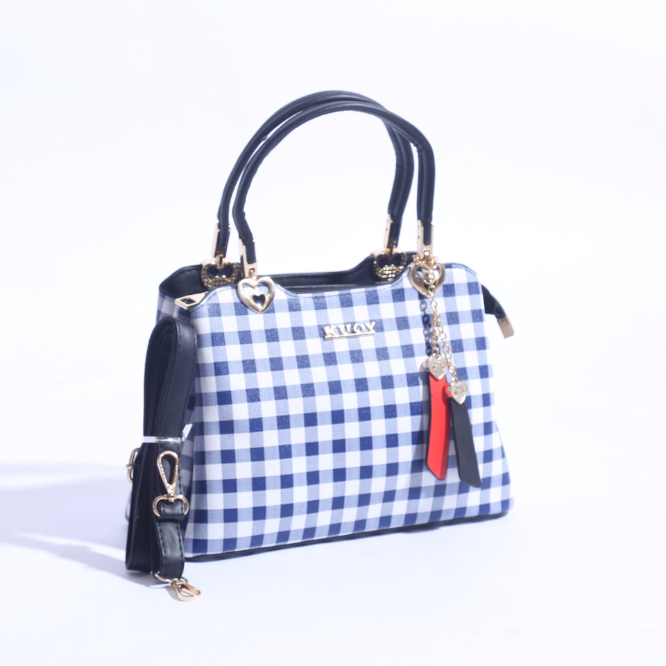 Check Printed Hand Bag With Leather Strap ( B - 020 ) - The Women Wears