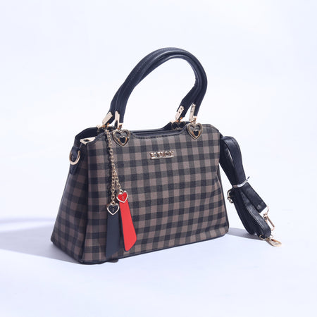 Check Printed Hand Bag With Leather Strap ( B - 022 ) - The Women Wears